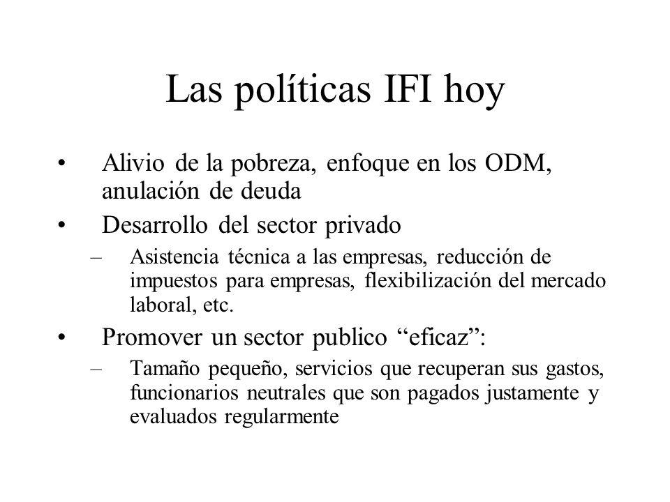 Las políticas IFI hoyAlivio de la pobreza, enfoque en los ODM, anulación de deuda. Desarrollo del sector privado.