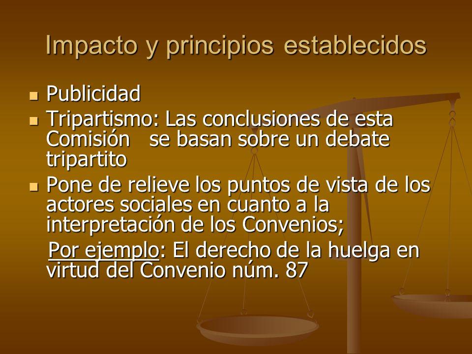 Impacto y principios establecidos