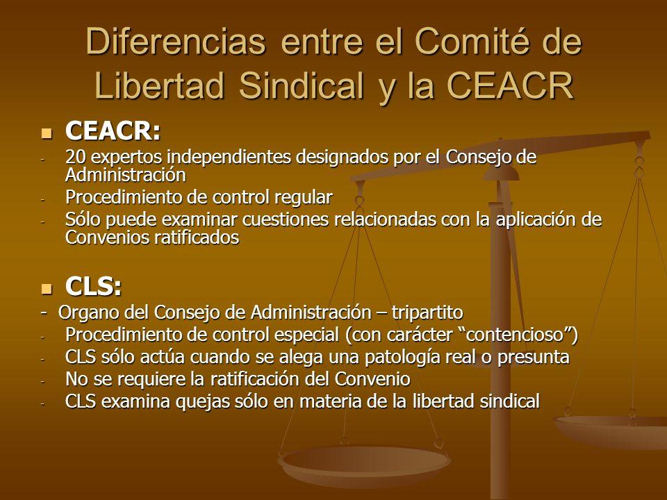 Diferencias entre el Comité de Libertad Sindical y la CEACR