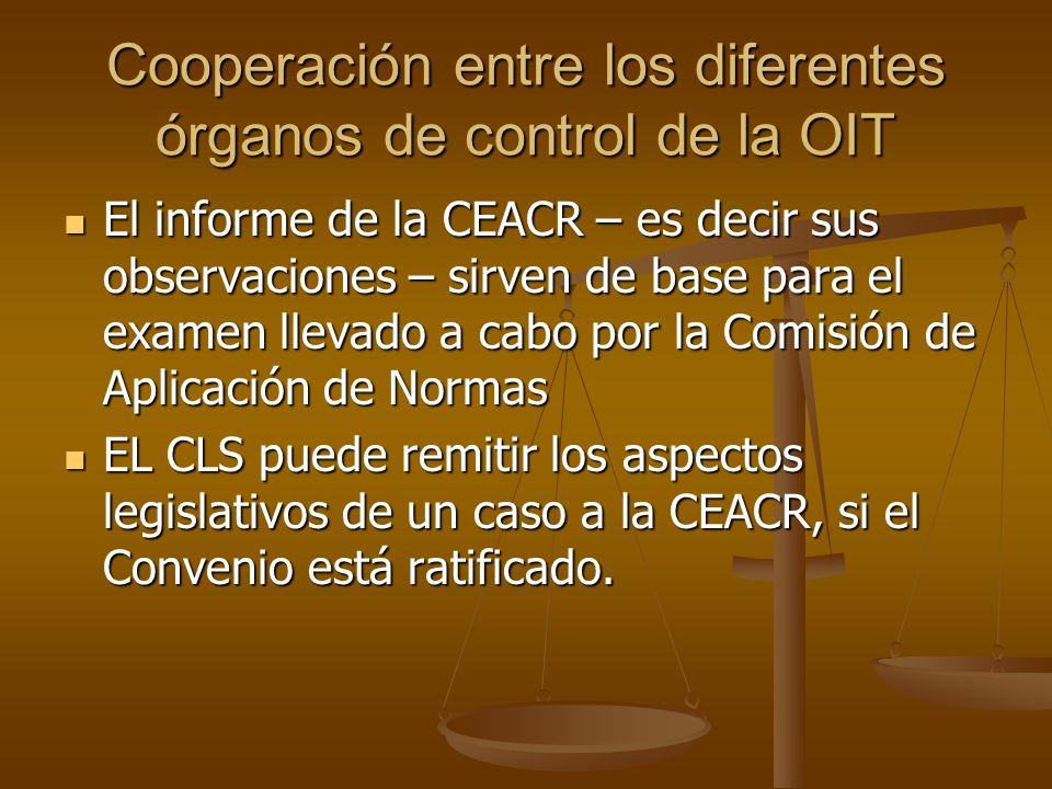 Cooperación entre los diferentes órganos de control de la OIT