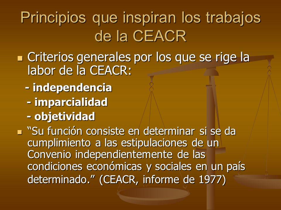 Principios que inspiran los trabajos de la CEACR