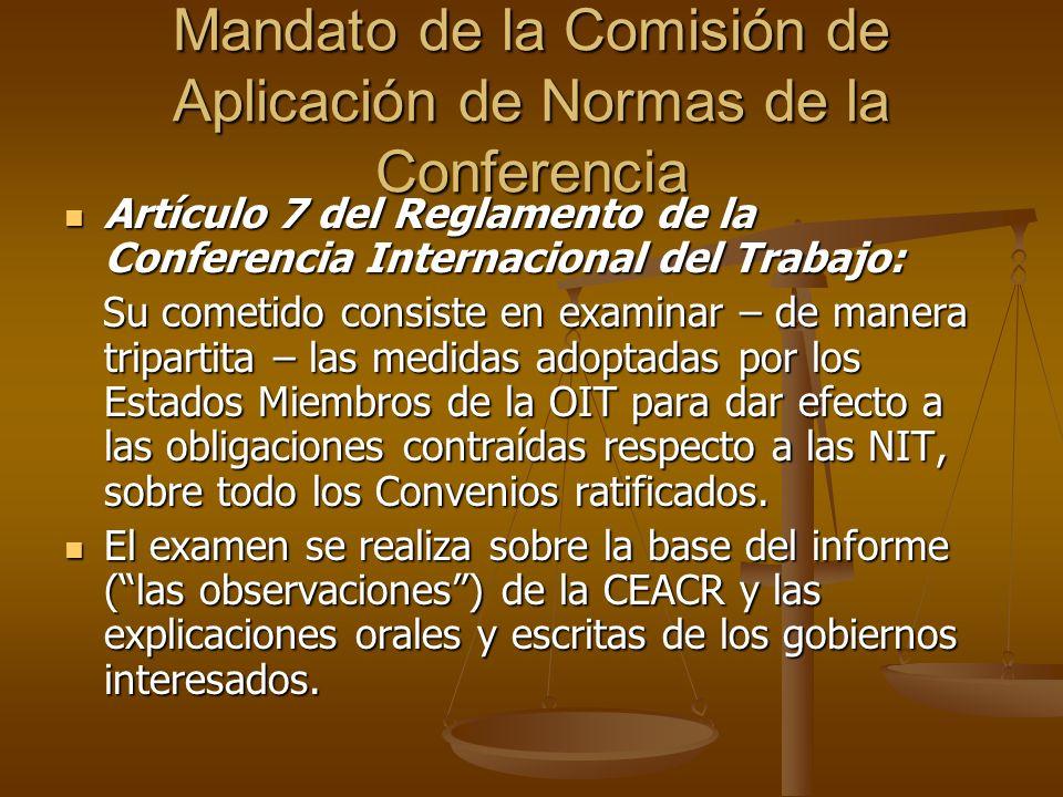 Mandato de la Comisión de Aplicación de Normas de la Conferencia