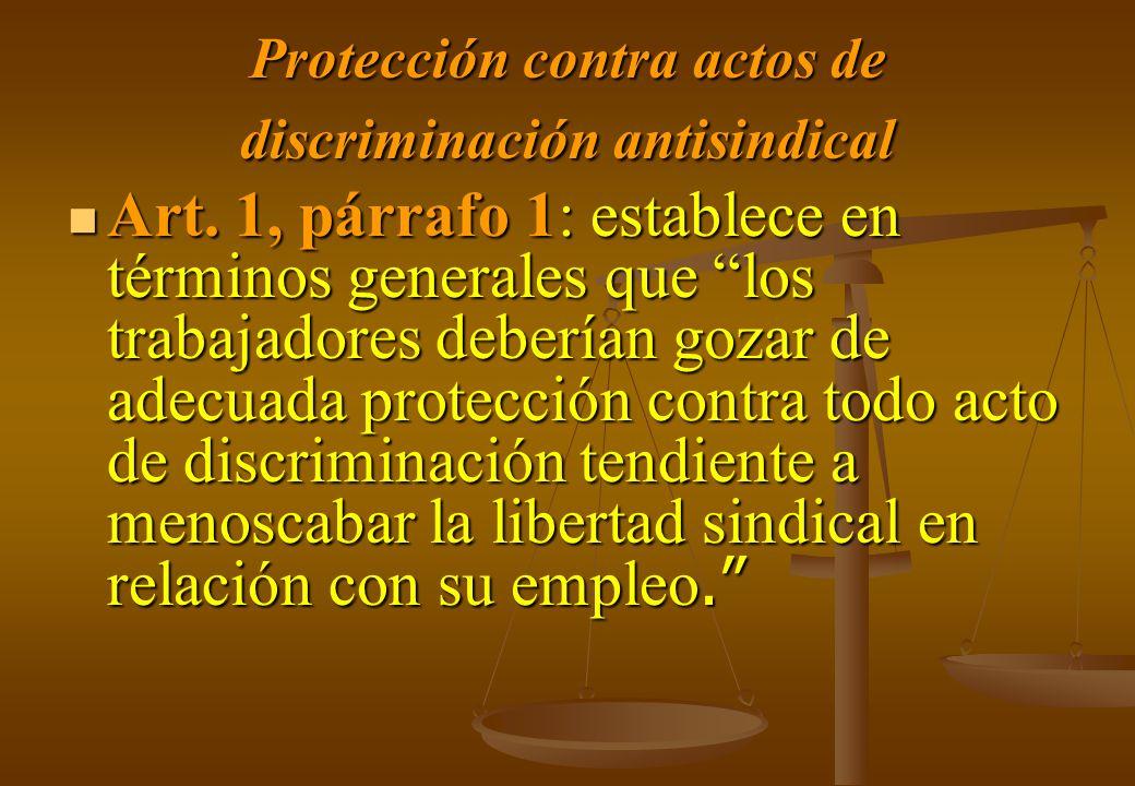 Protección contra actos de discriminación antisindical