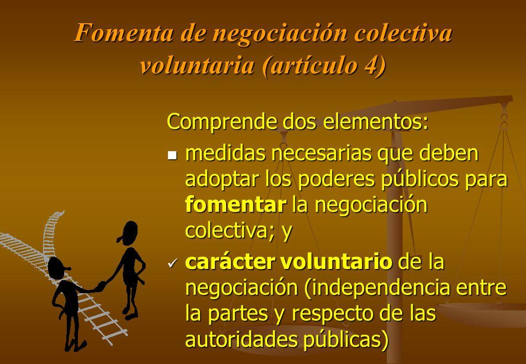 Fomenta de negociación colectiva voluntaria (artículo 4)