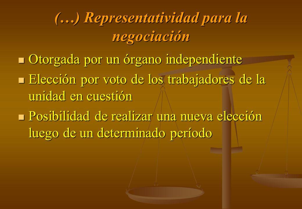 (…) Representatividad para la negociación