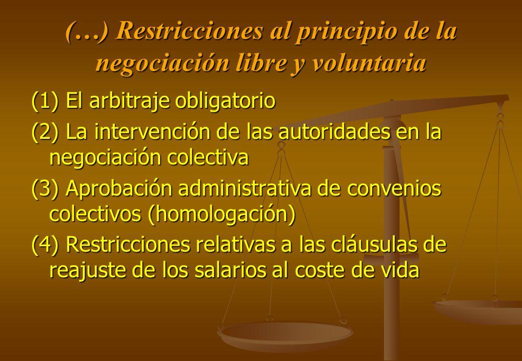 (…) Restricciones al principio de la negociación libre y voluntaria