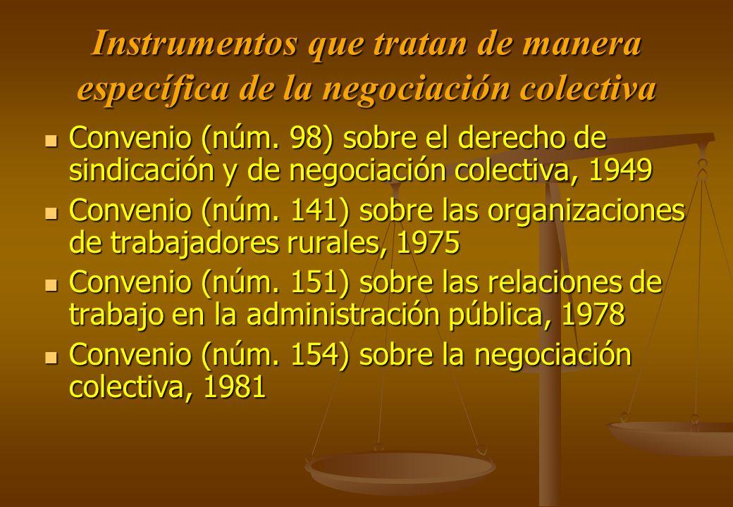 Instrumentos que tratan de manera específica de la negociación colectiva
