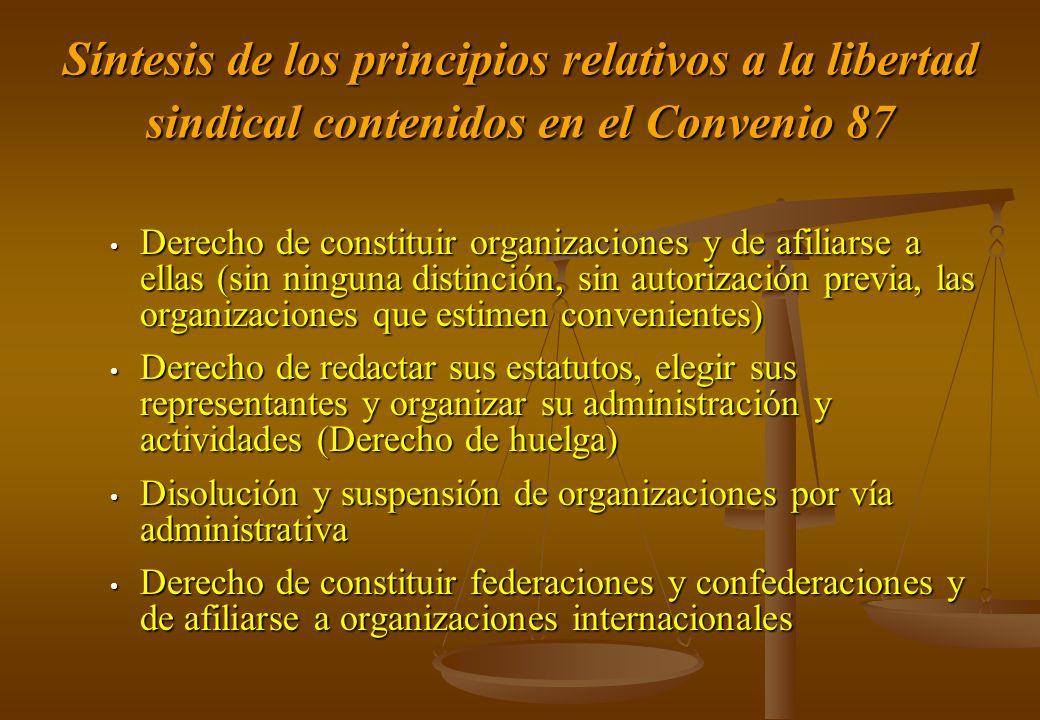 Síntesis de los principios relativos a la libertad sindical contenidos en el Convenio 87