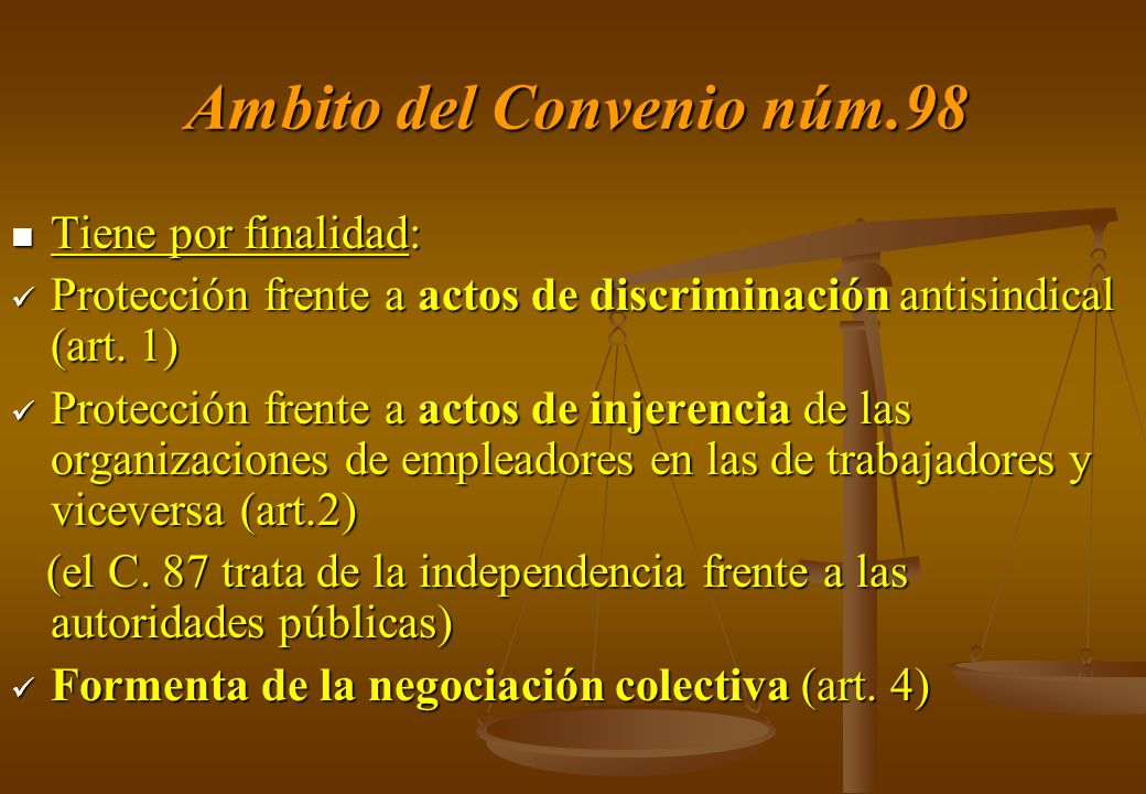 Ambito del Convenio núm.98