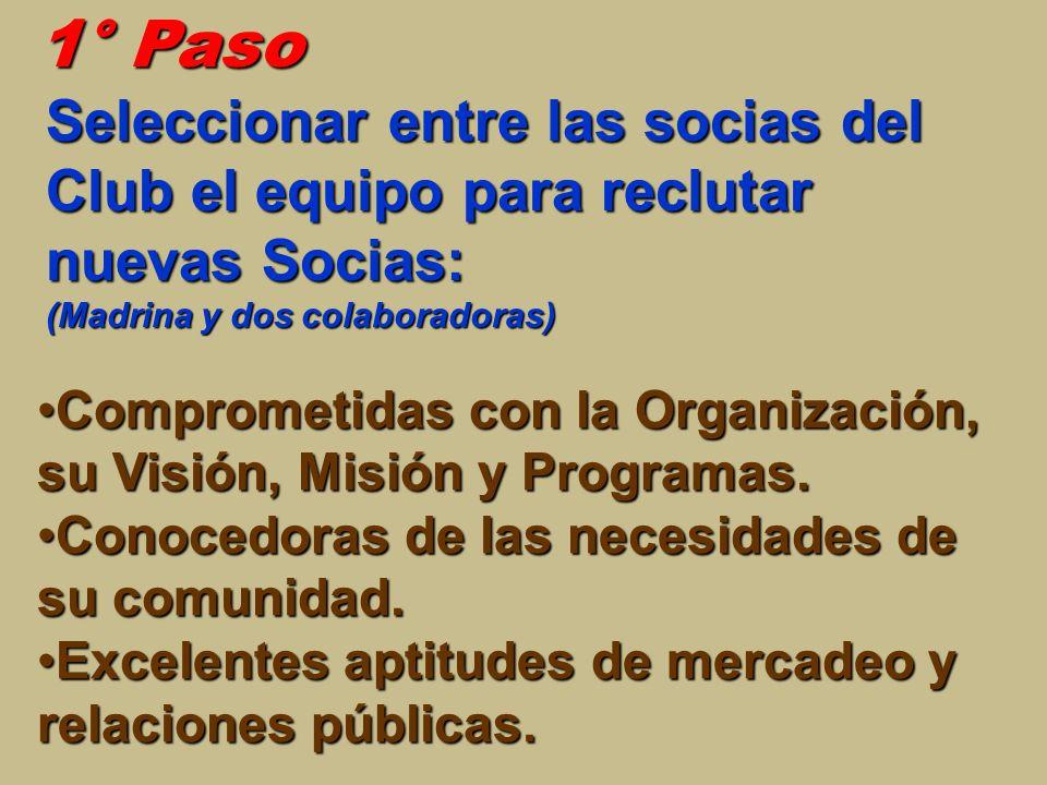 1° Paso Seleccionar entre las socias del Club el equipo para reclutar nuevas Socias: (Madrina y dos colaboradoras)