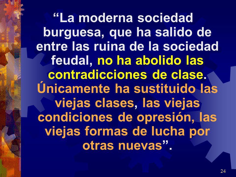 La moderna sociedad burguesa, que ha salido de entre las ruina de la sociedad feudal, no ha abolido las contradicciones de clase.