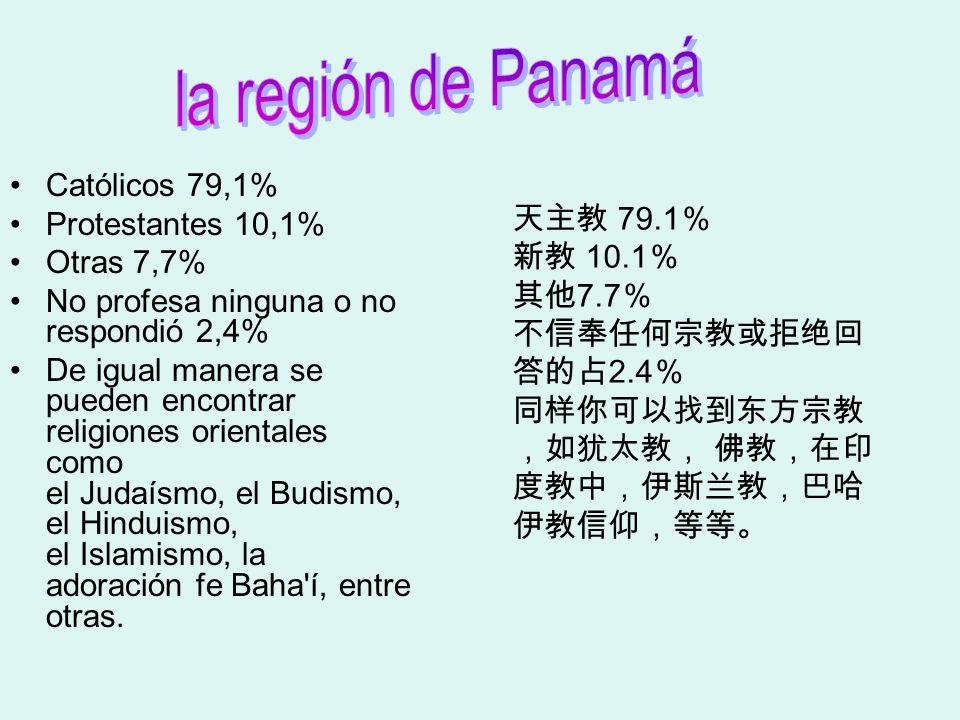 la región de Panamá Católicos 79,1% Protestantes 10,1% 天主教 79.1%