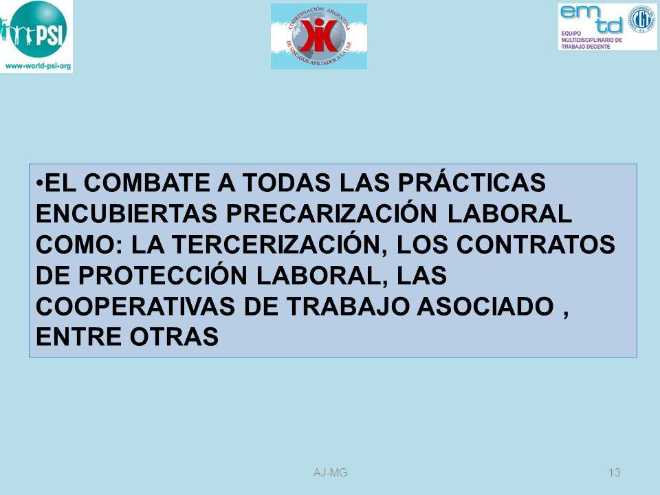 EL COMBATE A TODAS LAS PRÁCTICAS ENCUBIERTAS PRECARIZACIÓN LABORAL COMO: LA TERCERIZACIÓN, LOS CONTRATOS DE PROTECCIÓN LABORAL, LAS COOPERATIVAS DE TRABAJO ASOCIADO , ENTRE OTRAS