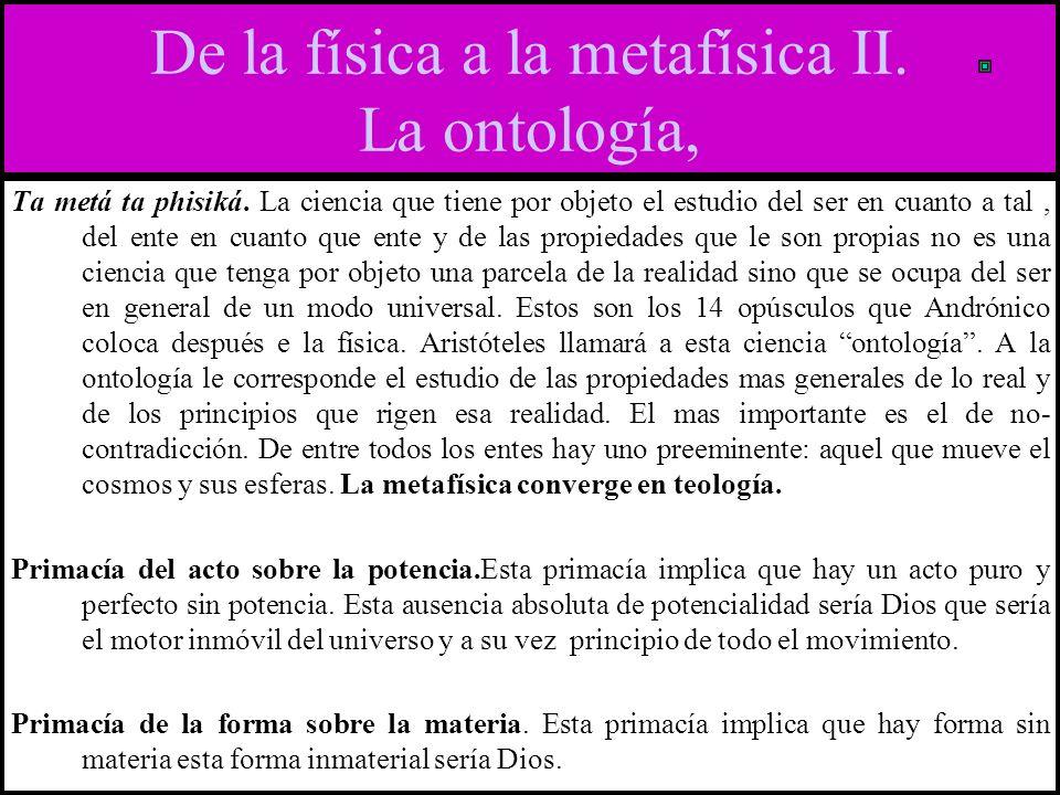 De la física a la metafísica II. La ontología,