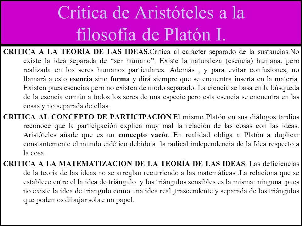 Crítica de Aristóteles a la filosofía de Platón I.