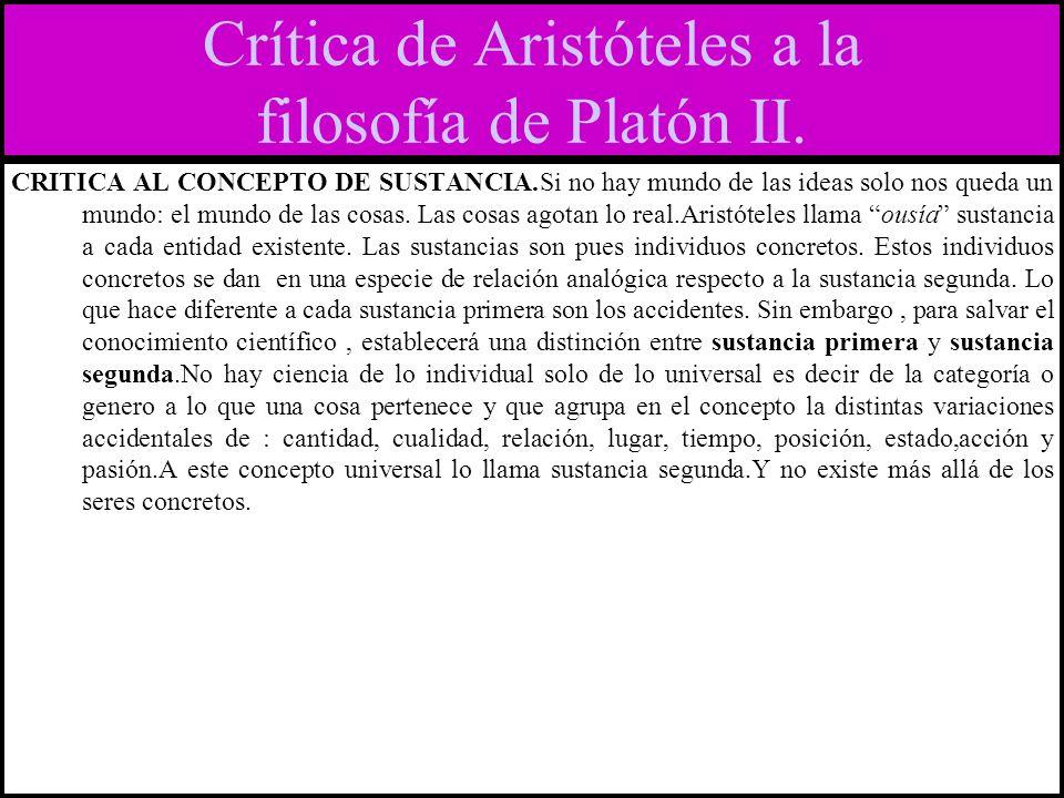 Crítica de Aristóteles a la filosofía de Platón II.