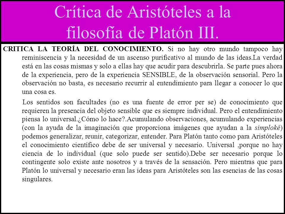 Crítica de Aristóteles a la filosofía de Platón III.