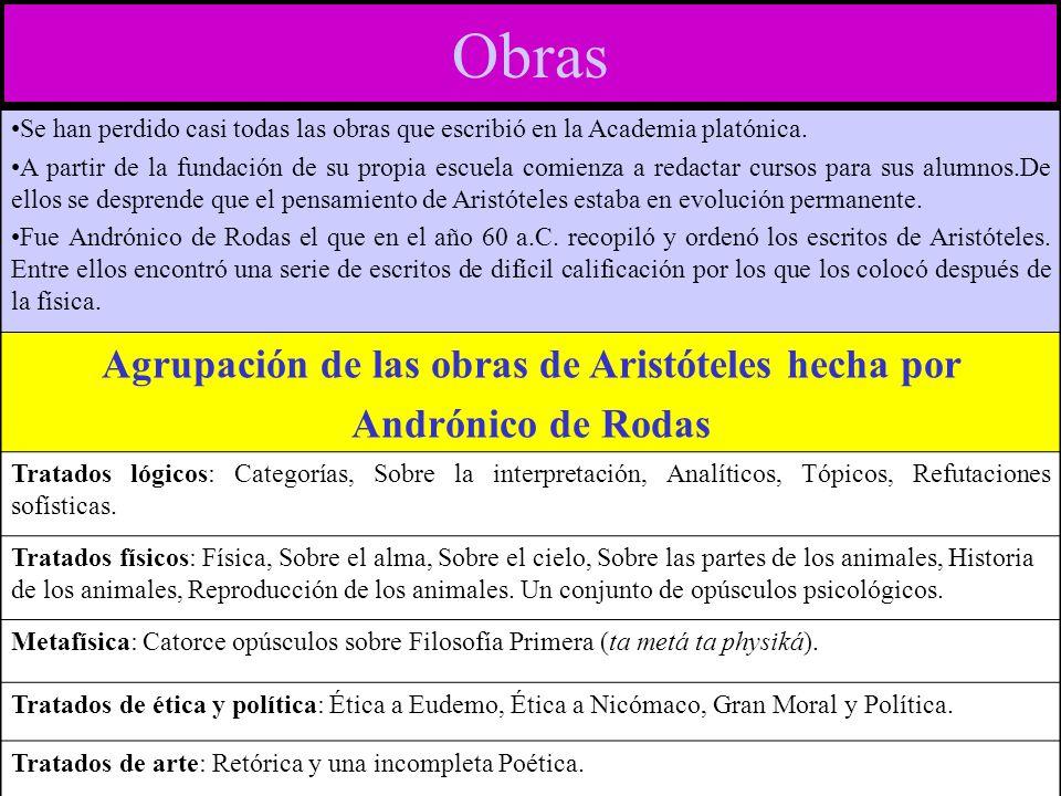 Agrupación de las obras de Aristóteles hecha por