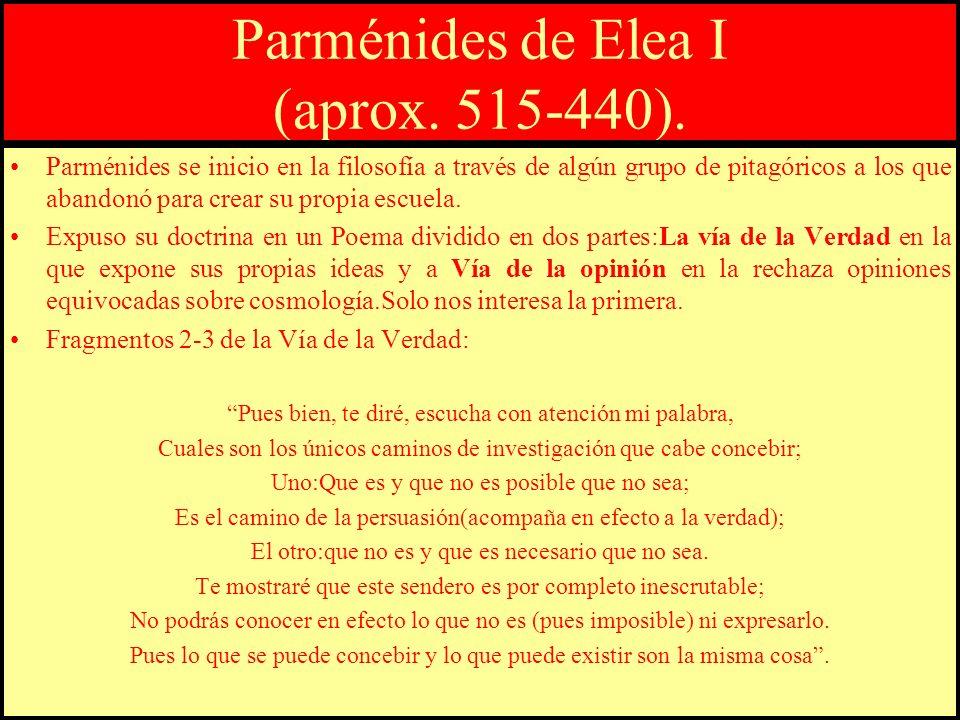 Parménides de Elea I (aprox. 515-440).