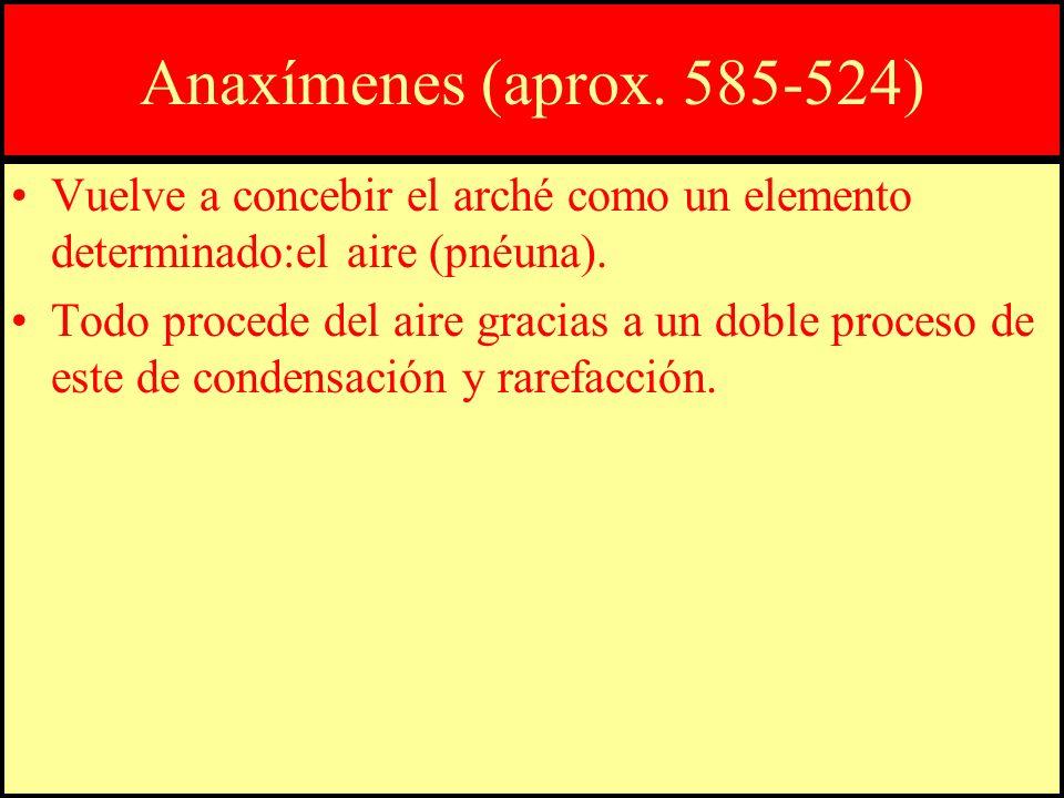 Anaxímenes (aprox. 585-524) Vuelve a concebir el arché como un elemento determinado:el aire (pnéuna).
