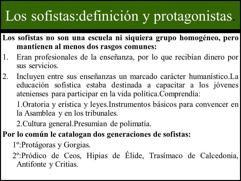 Los sofistas:definición y protagonistas.