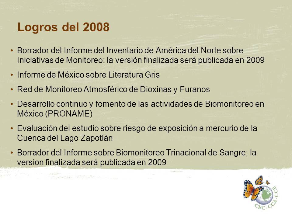 Logros del 2008 Borrador del Informe del Inventario de América del Norte sobre Iniciativas de Monitoreo; la versión finalizada será publicada en 2009.