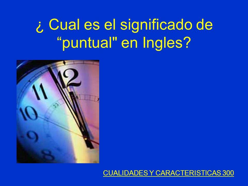 ¿ Cual es el significado de puntual en Ingles