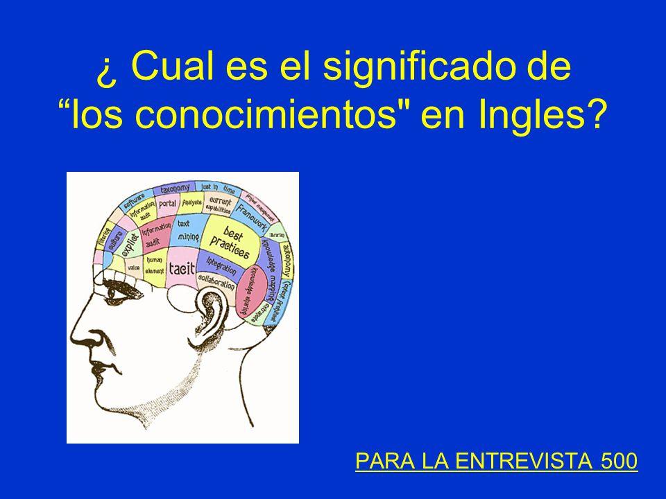 ¿ Cual es el significado de los conocimientos en Ingles