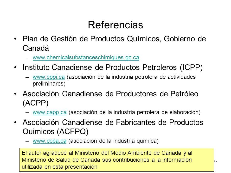 Referencias Plan de Gestión de Productos Químicos, Gobierno de Canadá