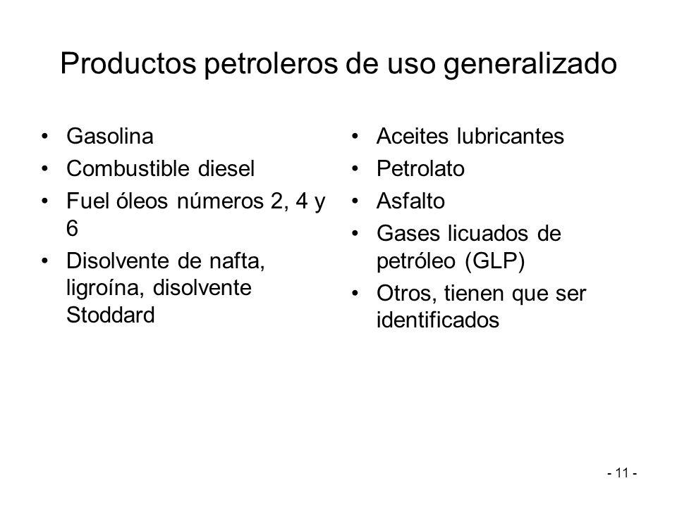 Productos petroleros de uso generalizado