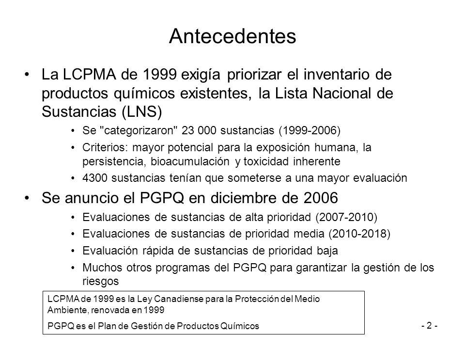 Antecedentes La LCPMA de 1999 exigía priorizar el inventario de productos químicos existentes, la Lista Nacional de Sustancias (LNS)
