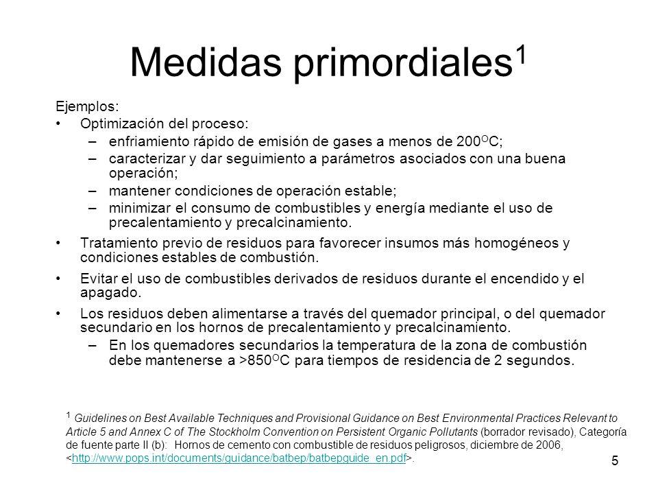 Medidas primordiales1 Ejemplos: Optimización del proceso: