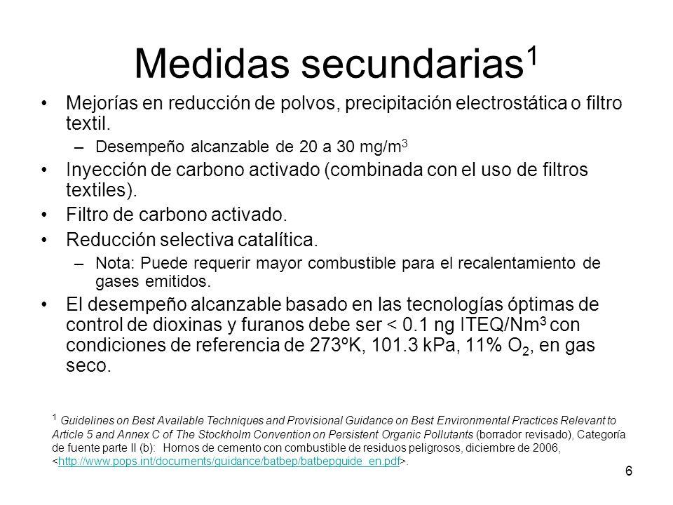 Medidas secundarias1 Mejorías en reducción de polvos, precipitación electrostática o filtro textil.