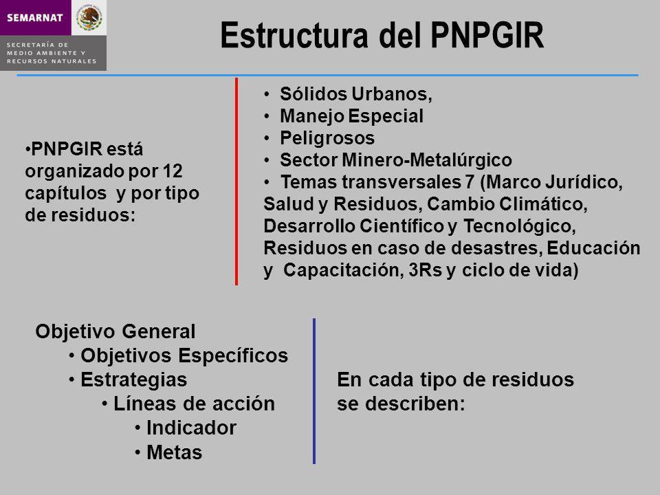 Estructura del PNPGIR Objetivo General Objetivos Específicos