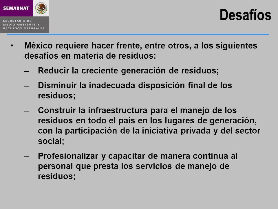 Desafíos México requiere hacer frente, entre otros, a los siguientes desafíos en materia de residuos: