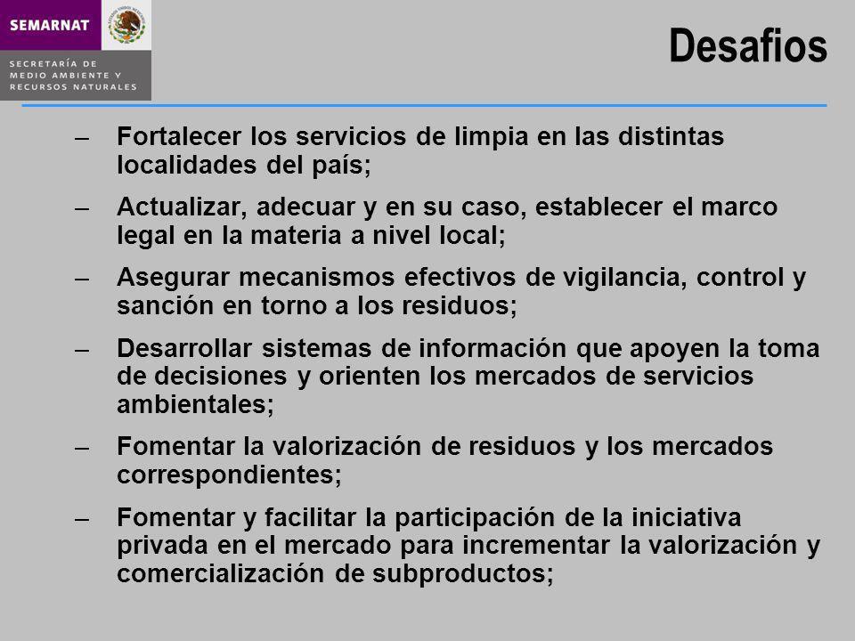 Desafios Fortalecer los servicios de limpia en las distintas localidades del país;