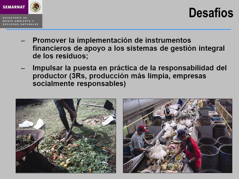 Desafios Promover la implementación de instrumentos financieros de apoyo a los sistemas de gestión integral de los residuos;