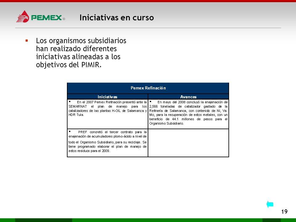 Iniciativas en curso Los organismos subsidiarios han realizado diferentes iniciativas alineadas a los objetivos del PIMIR.