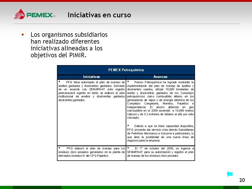Iniciativas en cursoLos organismos subsidiarios han realizado diferentes iniciativas alineadas a los objetivos del PIMIR.