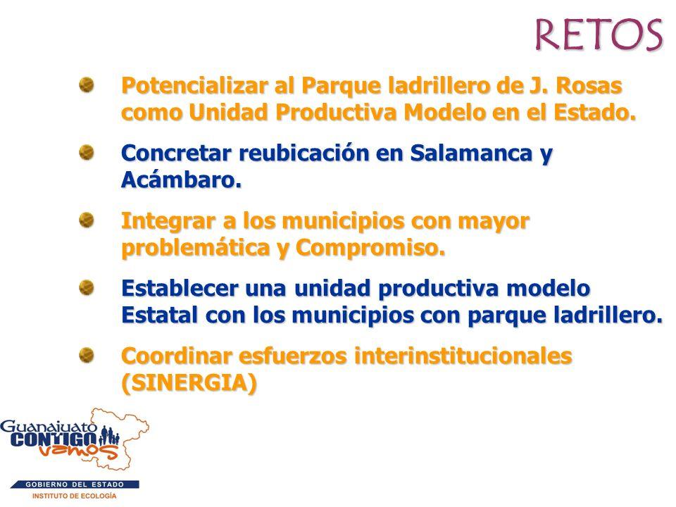 RETOS Potencializar al Parque ladrillero de J. Rosas como Unidad Productiva Modelo en el Estado. Concretar reubicación en Salamanca y Acámbaro.