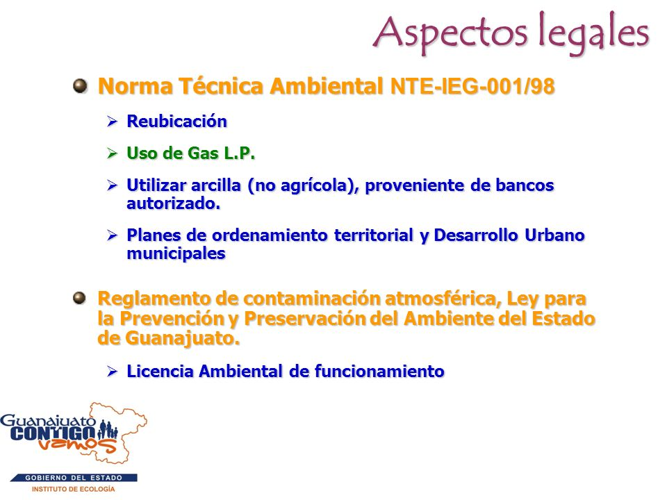 Aspectos legales Norma Técnica Ambiental NTE-IEG-001/98