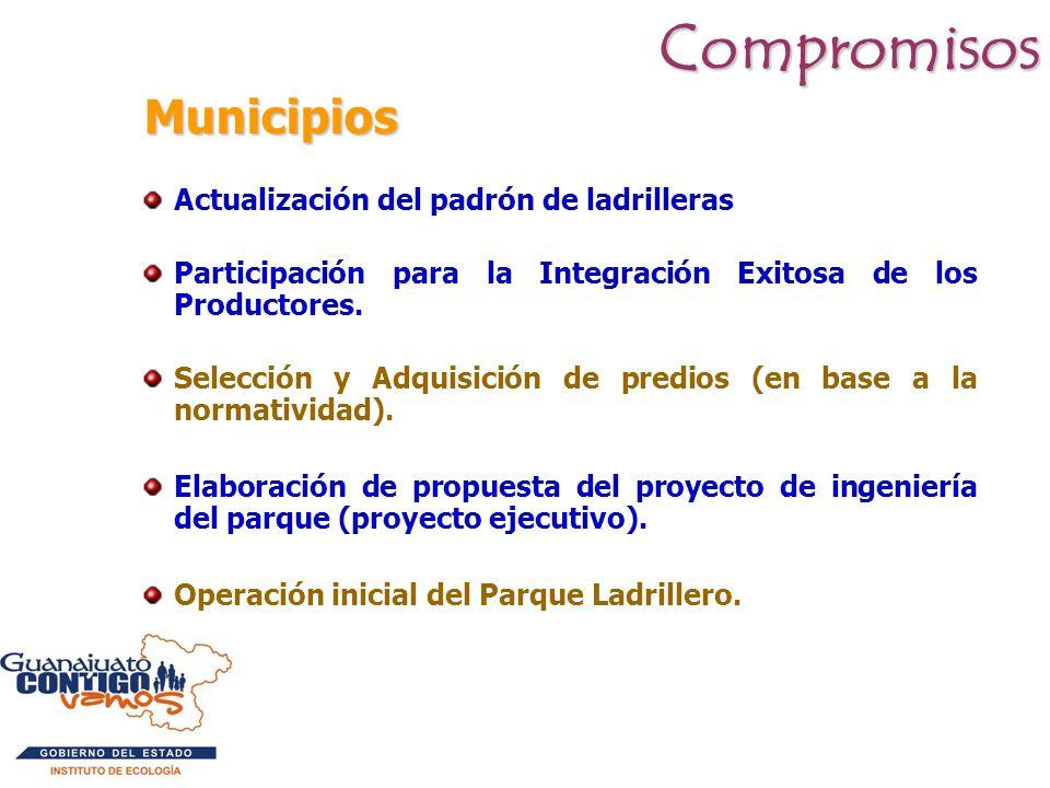 Compromisos Municipios Actualización del padrón de ladrilleras