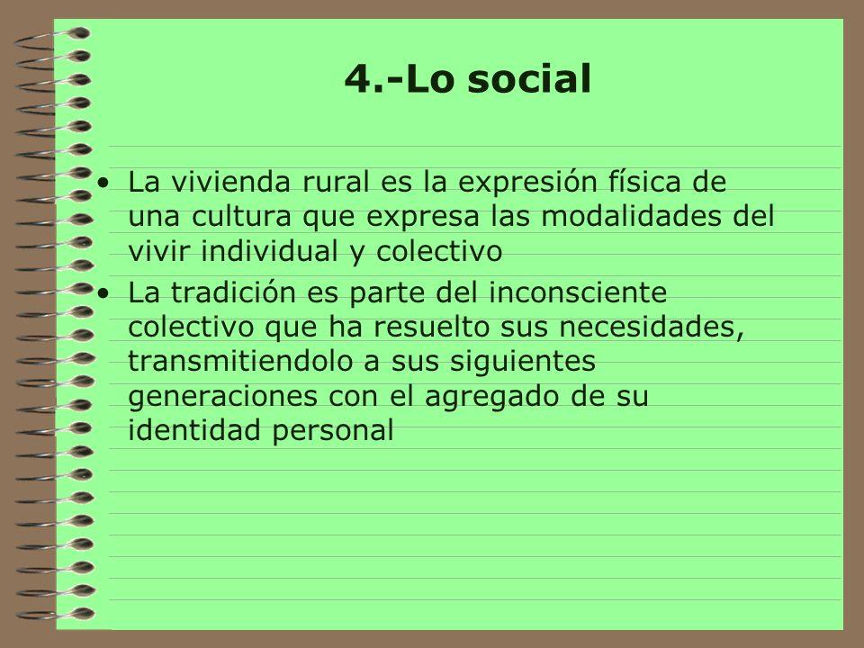 4.-Lo social La vivienda rural es la expresión física de una cultura que expresa las modalidades del vivir individual y colectivo.