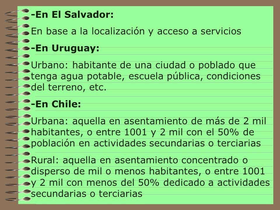 -En El Salvador: En base a la localización y acceso a servicios. -En Uruguay: