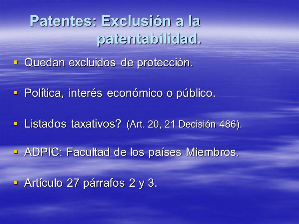 Patentes: Exclusión a la patentabilidad.