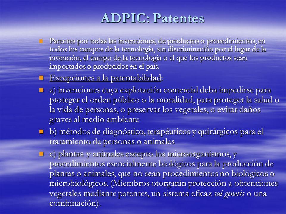 ADPIC: Patentes Excepciones a la patentabilidad: