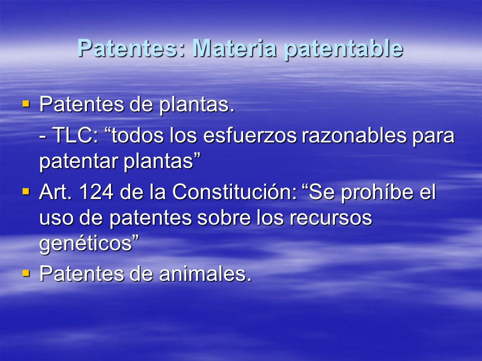 Patentes: Materia patentable