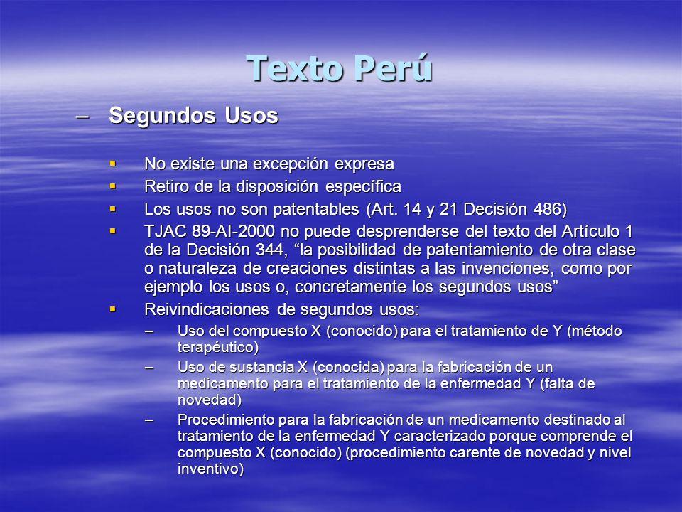 Texto Perú Segundos Usos No existe una excepción expresa
