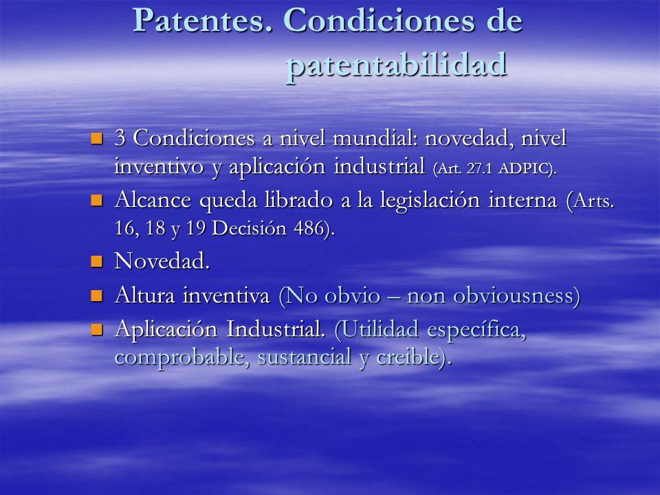 Patentes. Condiciones de patentabilidad