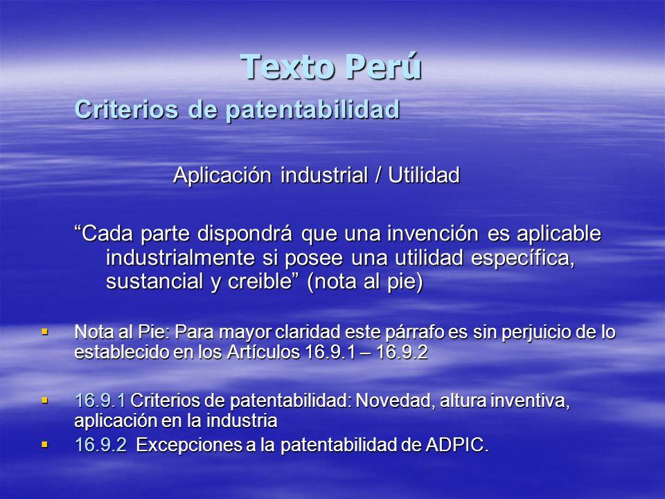Texto Perú Criterios de patentabilidad